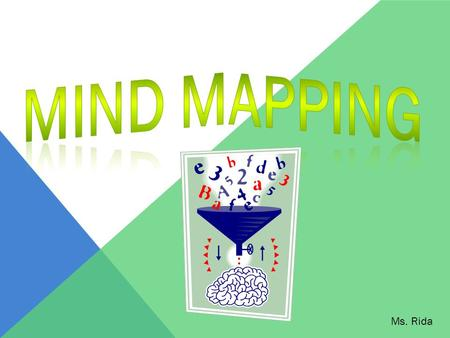 Ms. Rida. WHAT IS MIND MAPPING? Also known as concept mapping It's a visual illustration of the relationship between key ideas and concepts.
