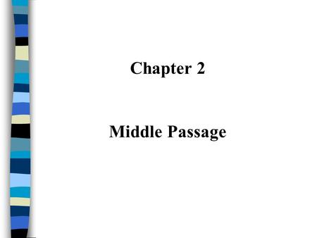 Chapter 2 Middle Passage. I. European Exploration ~ Colonization Western European countries expand during 15th century –Explore, conquer, and colonize.