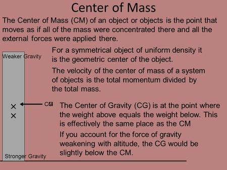 CG CM Center of Mass The Center of Mass (CM) of an object or objects is the point that moves as if all of the mass were concentrated there and all the.