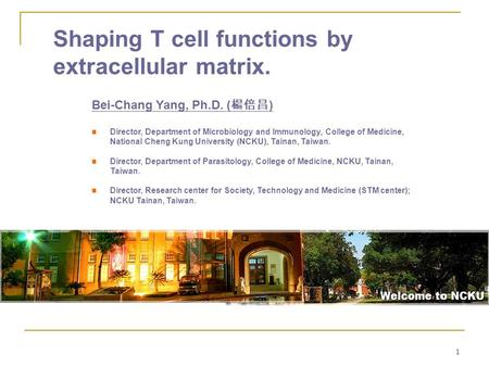 1 Shaping T cell functions by extracellular matrix. Bei-Chang Yang, Ph.D. ( 楊倍昌 ) Director, Department of Microbiology and Immunology, College of Medicine,