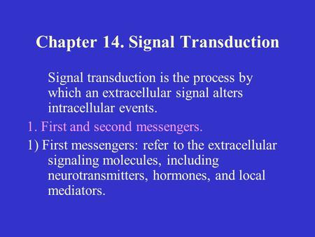 Signal transduction pathway animation mcgraw hill