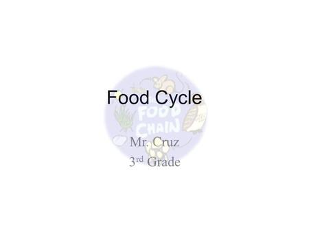 Food Cycle Mr. Cruz 3 rd Grade. What is the Food Cycle? Every living thing needs energy in order to live. Everytime animals do something (run, jump) they.