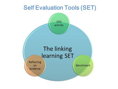 The linking learning SET CPD activity Benchmark Reflecting on evidence Self Evaluation Tools (SET)