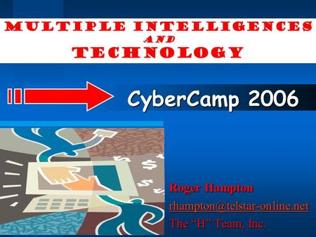 "Multiple Intelligences and Technology Roger Hampton The ""H"" Team, Inc. CyberCamp 2006."