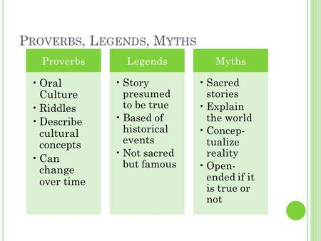 P ROVERBS, L EGENDS, M YTHS Proverbs Oral Culture Riddles Describe cultural concepts Can change over time Legends Story presumed to be true Based of historical.