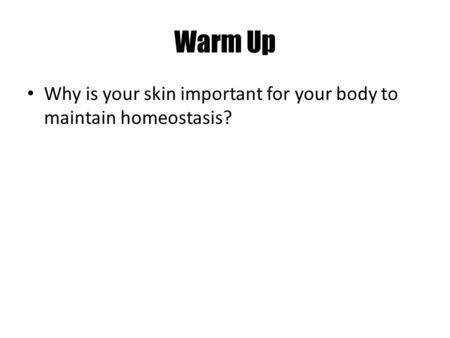 Warm Up Why is your skin important for your body to maintain homeostasis?