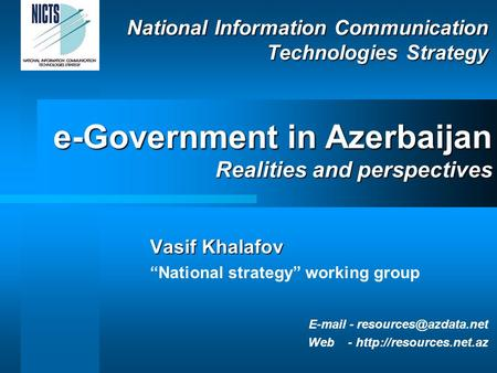 "National Information Communication Technologies Strategy Vasif Khalafov ""National strategy"" working group  - Web -"