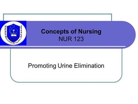 Promoting Urine Elimination Concepts of Nursing NUR 123.