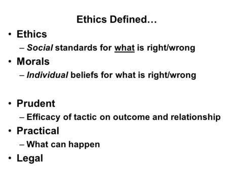 Ethics Defined… Ethics –Social standards for what is right/wrong Morals –Individual beliefs for what is right/wrong Prudent –Efficacy of tactic on outcome.