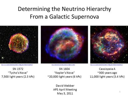 "Determining the Neutrino Hierarchy From a Galactic Supernova David Webber APS April Meeting May 3, 2011 SN 1572 ""Tycho's Nova"" 7,500 light years (2.3 kPc)"