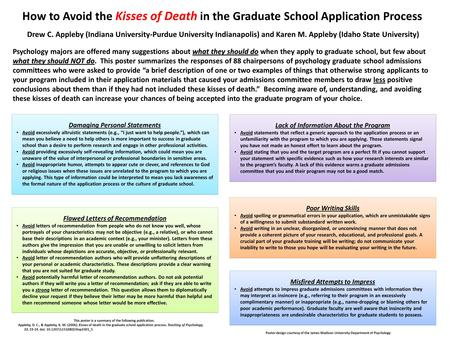 How to Avoid the Kisses of Death in the Graduate School Application Process Poor Writing Skills Avoid spelling or grammatical errors in your application,