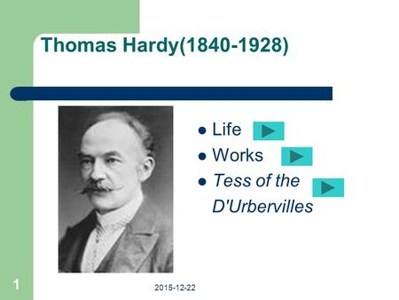 Thomas Hardy(1840-1928) Life Works Tess of the D'Urbervilles. 2015-12-22 1.