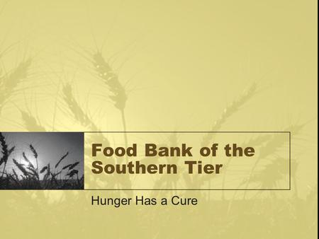 Food Bank of the Southern Tier Hunger Has a Cure.
