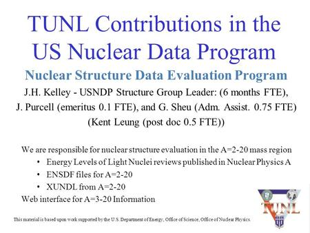 TUNL Contributions in the US Nuclear Data Program Nuclear Structure Data Evaluation Program J.H. Kelley - USNDP Structure Group Leader: (6 months FTE),