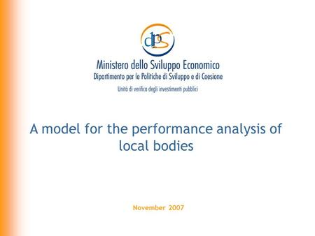 November 2007 A model for the performance analysis of local bodies.