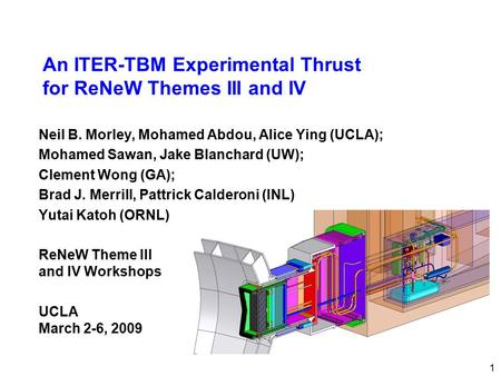 An ITER-TBM Experimental Thrust for ReNeW Themes III and IV Neil B. Morley, Mohamed Abdou, Alice Ying (UCLA); Mohamed Sawan, Jake Blanchard (UW); Clement.