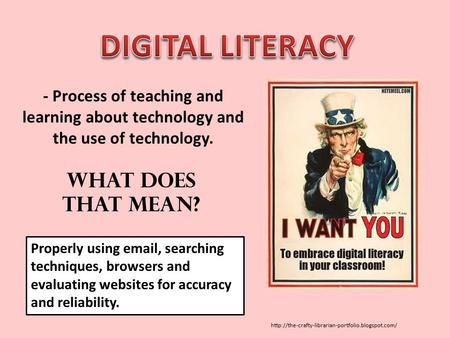 - Process of teaching and learning about technology and the use of technology. Properly using  ,