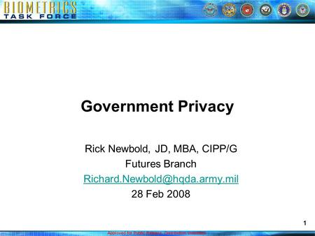 Approved for Public Release. Distribution Unlimited. 1 Government Privacy Rick Newbold, JD, MBA, CIPP/G Futures Branch 28.