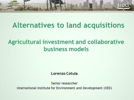 Alternatives to land acquisitions Agricultural investment and collaborative business models Lorenzo Cotula Senior researcher International Institute for.