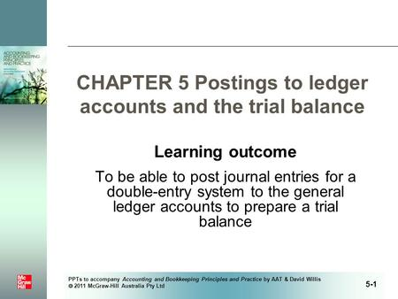 PPTs to accompany Accounting and Bookkeeping Principles and Practice by AAT & David Willis  2011 McGraw-Hill Australia Pty Ltd CHAPTER 5 Postings to ledger.