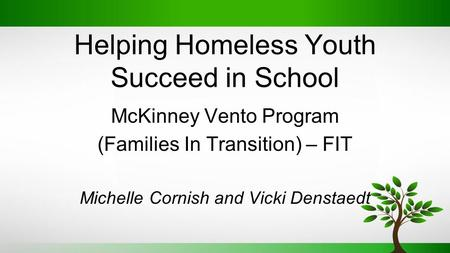 Helping Homeless Youth Succeed in School McKinney Vento Program (Families In Transition) – FIT Michelle Cornish and Vicki Denstaedt.