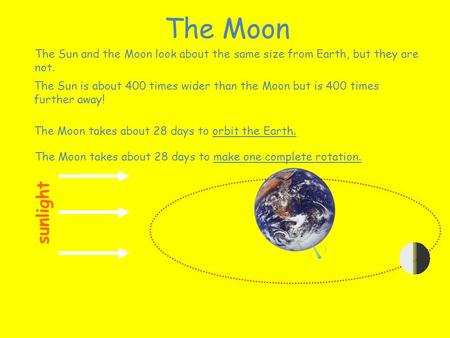 The Sun and the Moon look about the same size from Earth, but they are not. The Sun is about 400 times wider than the Moon but is 400 times further away!