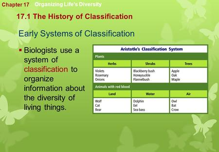 Early Systems of Classification  Biologists use a system of classification to organize information about the diversity of living things. 17.1 The History.