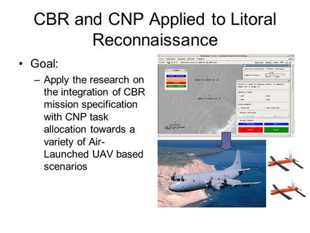 CBR and CNP Applied to Litoral Reconnaissance Goal: –Apply the research on the integration of CBR mission specification with CNP task allocation towards.