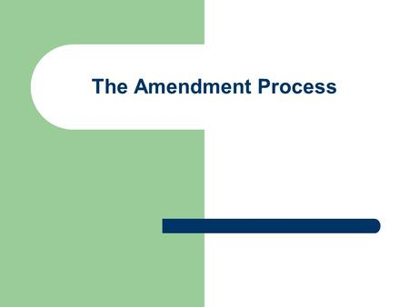 The Amendment Process. Formal Amendment Process Article V says we can amend the Constitution 2/3 of each house, ¾ of state legislatures Proposed by Congress,