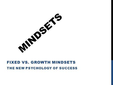 MINDSETS FIXED VS. GROWTH MINDSETS THE NEW PSYCHOLOGY OF SUCCESS.