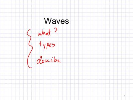 Waves 1. What is a wave? Transports: Momentum Energy Matter Oscillatory motion 2.