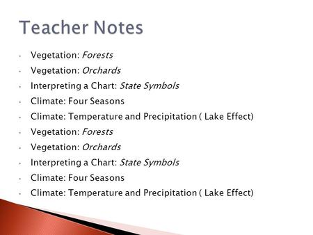 Vegetation: Forests Vegetation: Orchards Interpreting a Chart: State Symbols Climate: Four Seasons Climate: Temperature and Precipitation ( Lake Effect)
