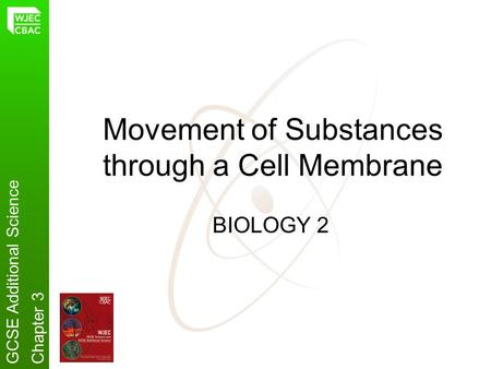 Movement of Substances through a Cell Membrane BIOLOGY 2 GCSE Additional ScienceChapter 3.