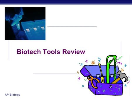 AP Biology 2005-2006 Biotech Tools Review AP Biology 2005-2006 Biotech Tools Review  Recombinant DNA / Cloning gene  restriction enzyme, plasmids,