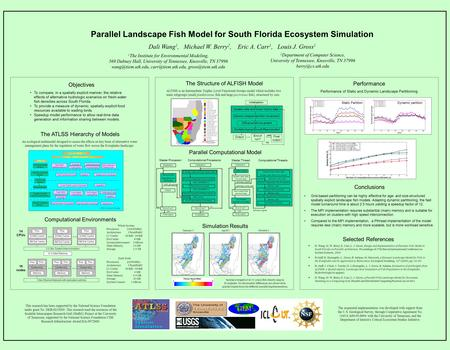 Parallel Landscape Fish Model for South Florida Ecosystem Simulation Dali Wang 1, Michael W. Berry 2, Eric A. Carr 1, Louis J. Gross 1 The ATLSS Hierarchy.