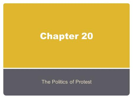 Chapter 20 The Politics of Protest. The Rise of the Youth Movement The youth movement originated with the 'baby boomers' By 1970 58% of the population.