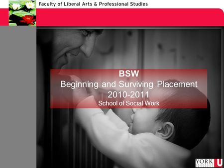 BSW Beginning and Surviving Placement 2010-2011 School of Social Work.