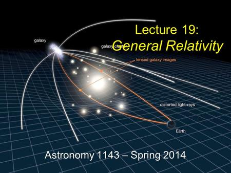 Astronomy 1143 – Spring 2014 Lecture 19: General Relativity.