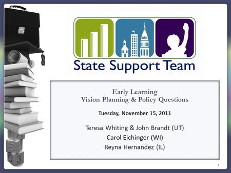 1 Early Learning Vision Planning & Policy Questions Tuesday, November 15, 2011 Teresa Whiting & John Brandt (UT) Carol Eichinger (WI) Reyna Hernandez (IL)