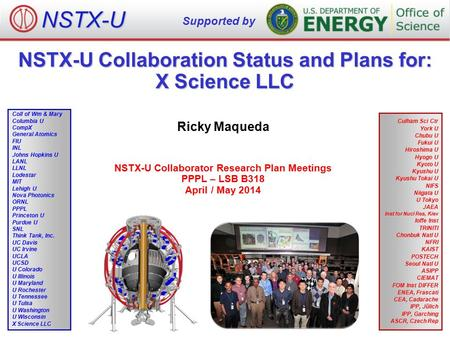NSTX-U Collaboration Status and Plans for: X Science LLC Ricky Maqueda NSTX-U Collaborator Research Plan Meetings PPPL – LSB B318 April / May 2014 NSTX-U.