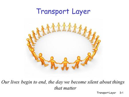 Transport Layer3-1 Transport Layer Our lives begin to end, the day we become silent about things that matter.