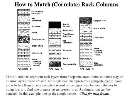 How to Match (Correlate) Rock Columns These 3 columns represent rock layers from 3 separate areas. Some columns may be missing layers due to erosion. No.