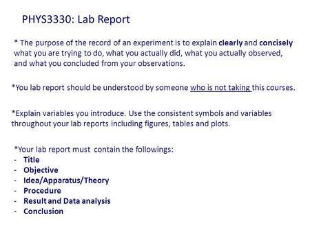 Lab report purpose