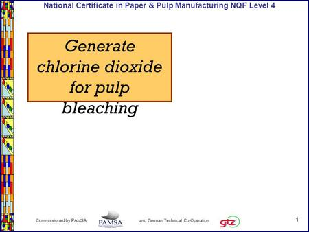 1 Commissioned by PAMSA and German Technical Co-Operation National Certificate in Paper & Pulp Manufacturing NQF Level 4 Generate chlorine dioxide for.