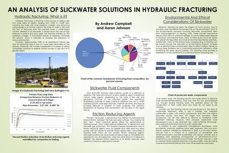 AN ANALYSIS OF SLICKWATER SOLUTIONS IN HYDRAULIC FRACTURING By Andrew Campbell and Aaron Johnson Chart of the common breakdown of fracking fluid composition,