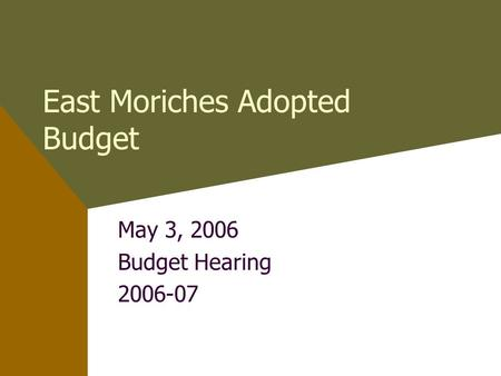 East Moriches Adopted Budget May 3, 2006 Budget Hearing 2006-07.