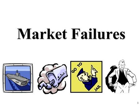 Market Failures 1. Review 1.Define Market Failure. 2.Identify the three market failures we have learned so far in this unit. 3.Explain why are public.