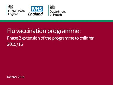 Flu vaccination programme: Phase 2 extension of the programme to children 2015/16 October 2015.