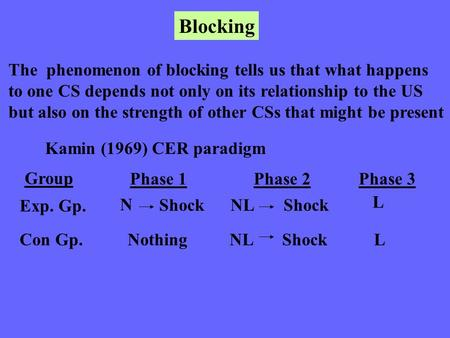 Blocking The phenomenon of blocking tells us that what happens to one CS depends not only on its relationship to the US but also on the strength of other.