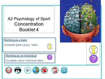 A2 Psychology of Sport Concentration Booklet 4 Skills Working as a team Complete green group tasks Working as an individual Complete yellow individual.